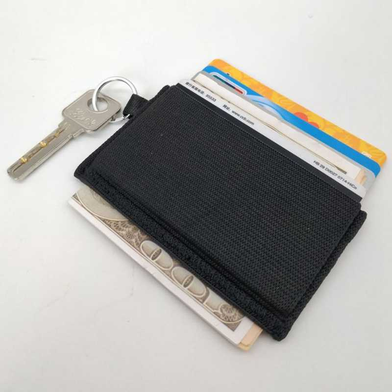Minimalist Slim Elastic Credit Card Holder Ultra-thin Bank Card Wallet Front Pocket Men Business Card Holder with Key Ring