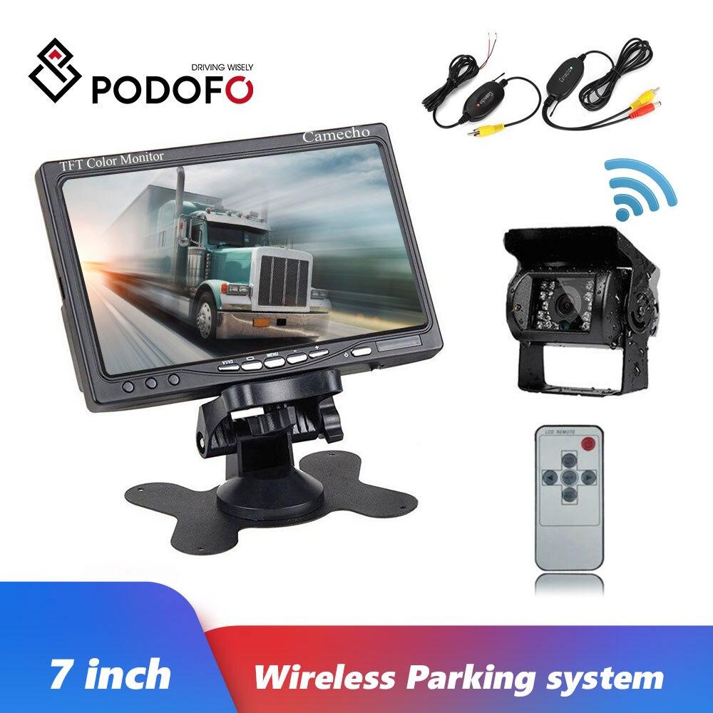 Podofo 12V-24V IR Night Car Rear View Wireless Backup Camera Kit + 7