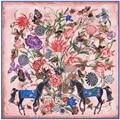 2021 Модный Шелковый квадратный шарф, женский платок 130*130 см, мягкий шейный платок, Женская шаль и оберточный платок, Bandanna, женские хиджабы с пр...
