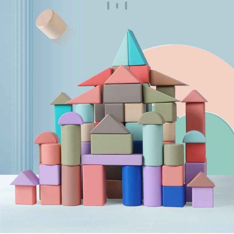Yantjouet Build Wood Blocks Macron Color 24pcs 74pcs Mini Castle Building Brick Blocks Shape Educational Toys For Children Gift
