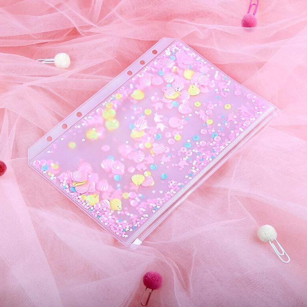 Transparent PVC A5 A6 File Folder Pink Cute Loose-leaf Bags Kawaii Storage Bag Diary Binder Pouch Supplies Planner D0N5