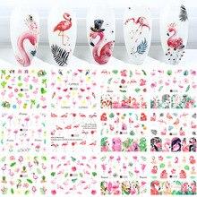 12 pçs flamingo etiqueta do prego flor folha de água decalque transferência sliders unhas tatuagem do verão decoração da arte do prego ponta JIA1537 1548 1