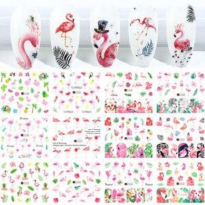 Image 1 - 12Pcs Flamingoสติกเกอร์เล็บดอกไม้รูปลอกน้ำโอนเล็บSlidersฤดูร้อนTattoo Nail Artตกแต่งเคล็ดลับJIA1537 1548 1