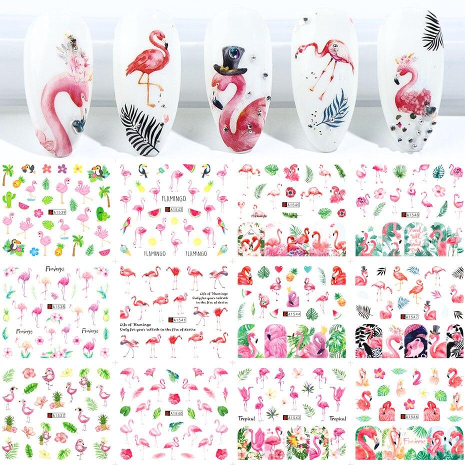 12 шт Фламинго наклейки на ногти цветок лист водная переводная наклейка для ногтей слайдеры Лето тату искусство для ногтей украшение наконе...