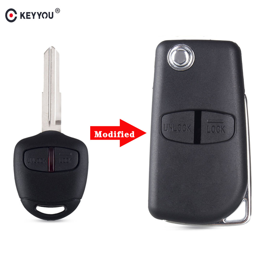 KEYYOU 2 Button Modified Flip Folding Remote Key Shell Case for Mitsubishi New ASX GRANDIS Outlander LANCER-EX Right/left Blade