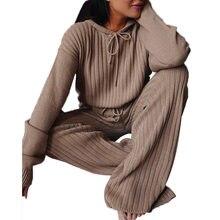Terno feminino tendência da moda senhoras outono malha 2 peça manga longa solta com capuz superior de cintura alta calças perna larga terno casual wear