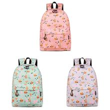 Cartoon Fox Printed Rucksack Backpack School Bag Casual College Daypack for Teenager Girls F42A school shoulder bag women fashion leather backpack rucksack casual college daypack for teenager girls
