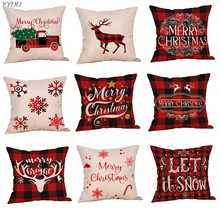 Рождественская декоративная наволочка, красная и черная клетчатая Снежинка, рождественские наволочки, декоративная наволочка для подушки