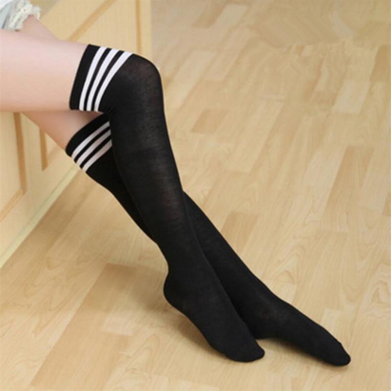 1 Double Cotton Ladies Knee High 3 Line Striped Cotton Socks Knee High Women Solid Socks School Party Cheerleader Supplies