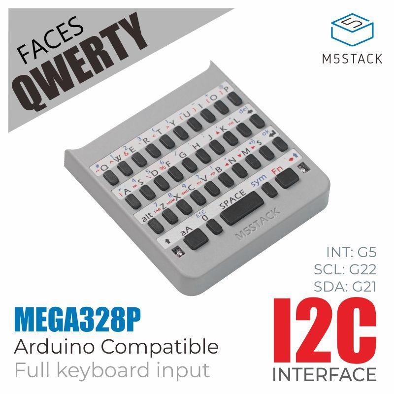 M5stack oficial m5 enfrenta qwerty painel completo-destaque teclado com processador mega328 i2c esp32 desenvolvimento placa de extensão
