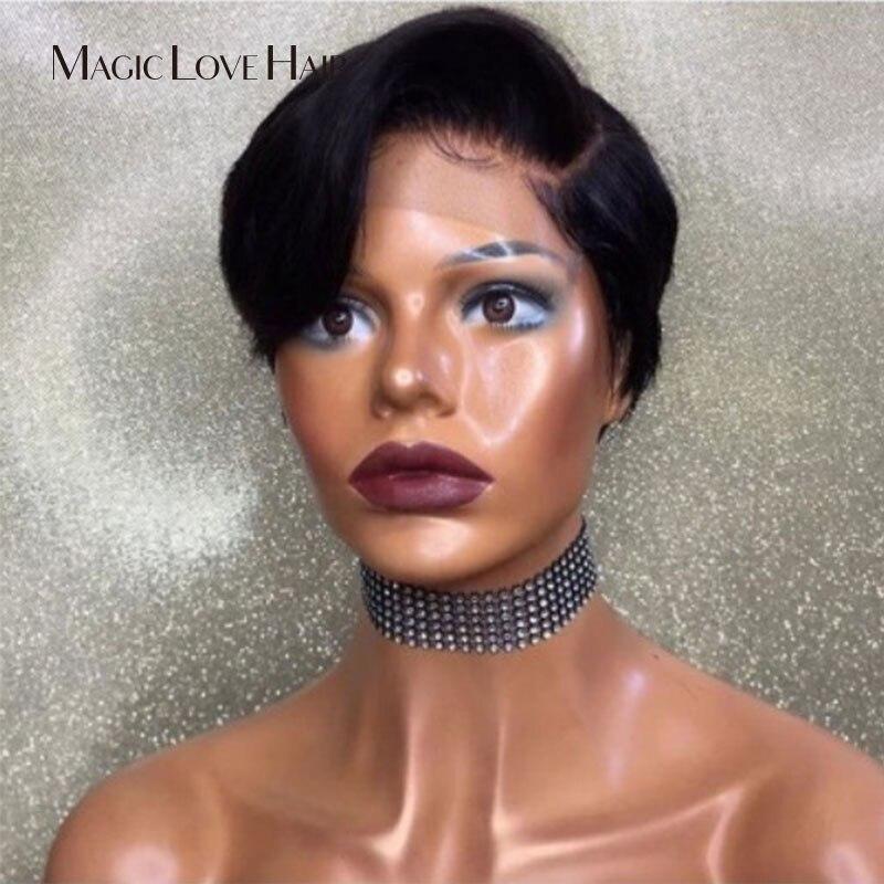 Magic love pixie peruca de cabelo curto, perucas de cabelo humano frontal, densidade 130, cabelo remy brasileiro mulheres