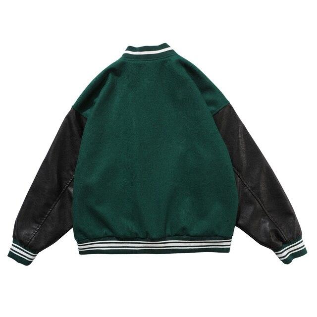 LACIBLE 2020SS Hip Hop Furry Bone Patchwork Color Block Jackets Mens Harajuku Streetwear Bomber Jacket Men Baseball Coats Unisex 2