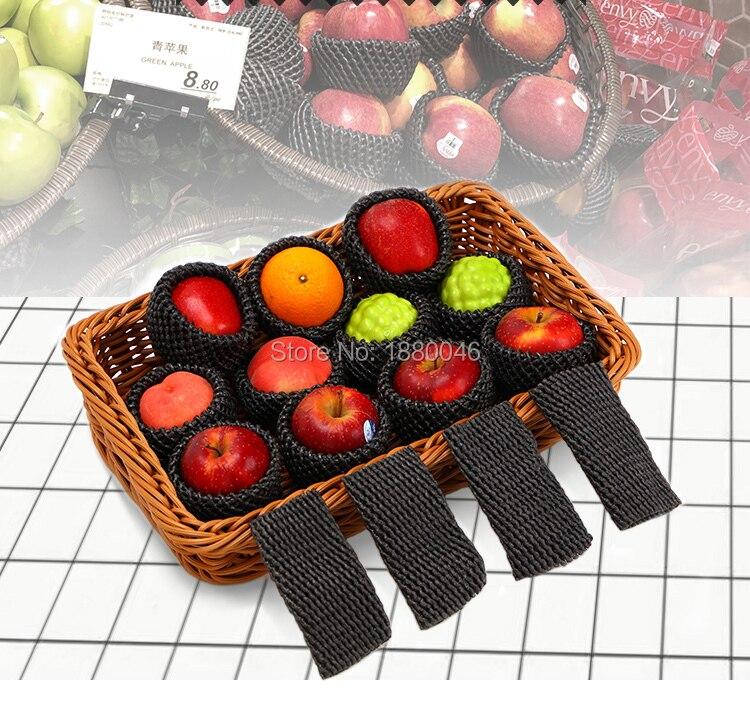 De color negro 1000 Uds 14x7cm grueso EPE malla de espuma para Apple/melocotón manga neto frutas embalaje de espuma material respetuoso del medio ambiente