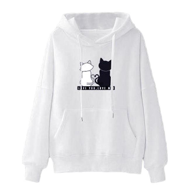 Women Cat Printed Hoodie Long Sleeves  My Pet World Store