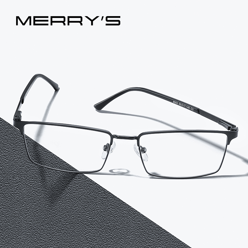 MERRYS DESIGN Men Luxury Titanium Alloy Optics Glasses Male Ultralight Eye Myopia Hyperopia Prescription Eyeglasses S2063
