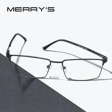 MERRYS 디자인 남자 럭셔리 티타늄 합금 광학 안경 남성 초경량 눈 근시 원시 원시 처방 안경 S2063
