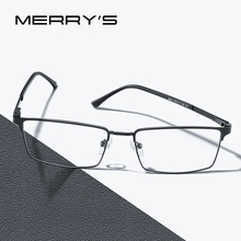 MERRYS עיצוב גברים יוקרה טיטניום סגסוגת אופטיקה משקפיים זכר Ultralight עין קוצר ראייה רוחק מרשם משקפיים S2063