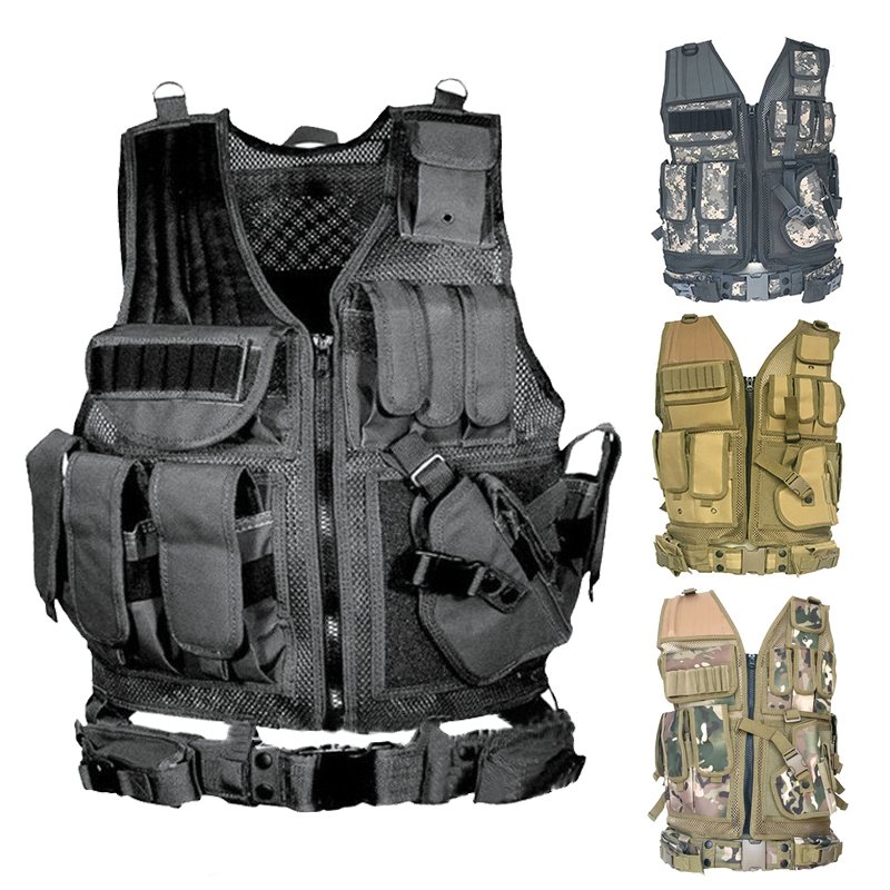 USMC Airsoft Military Tactical Vest Molle Combat Assault Plate Carrier Tactical Vest 7 Colors CS Outdoor Clothing Hunting Vest 8