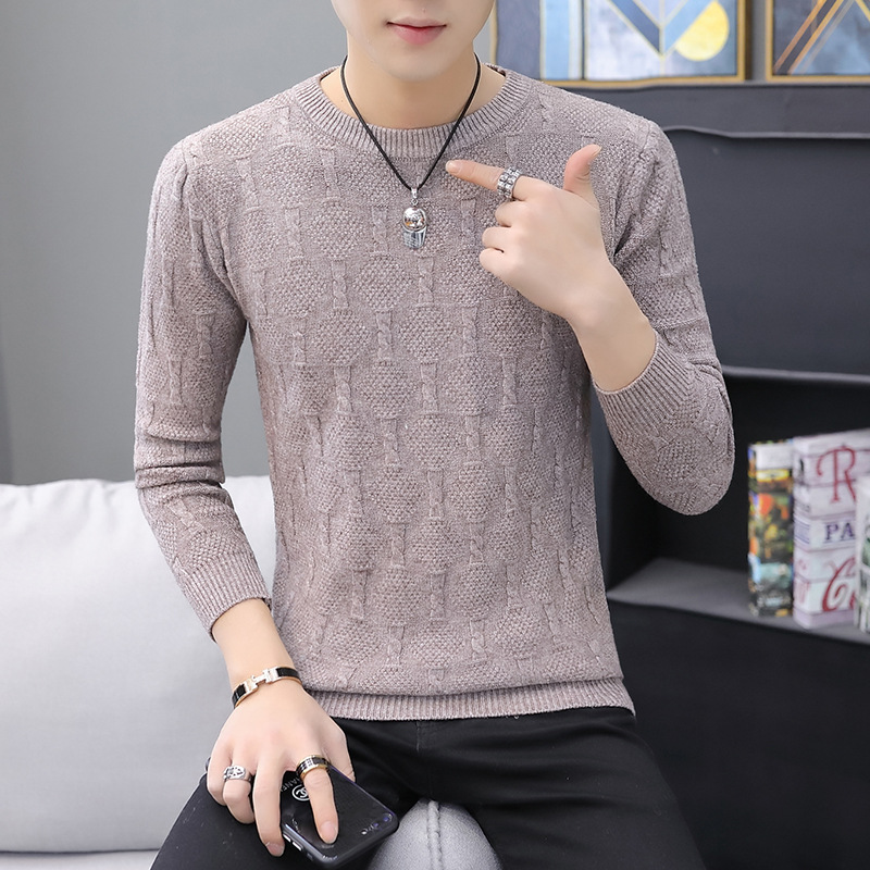 Black Mens Sweaters Coffee-colored Rose Red Men's Sweater Round Collar Head Long-sleeved Men's Sweater O-neck Casual Sweater