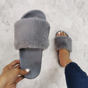 Fashion One Drop Plush Women Slippers Female Wear-resistant Flat Plush Shoes Fur Slides Woman Indoor Furry Home Slippers