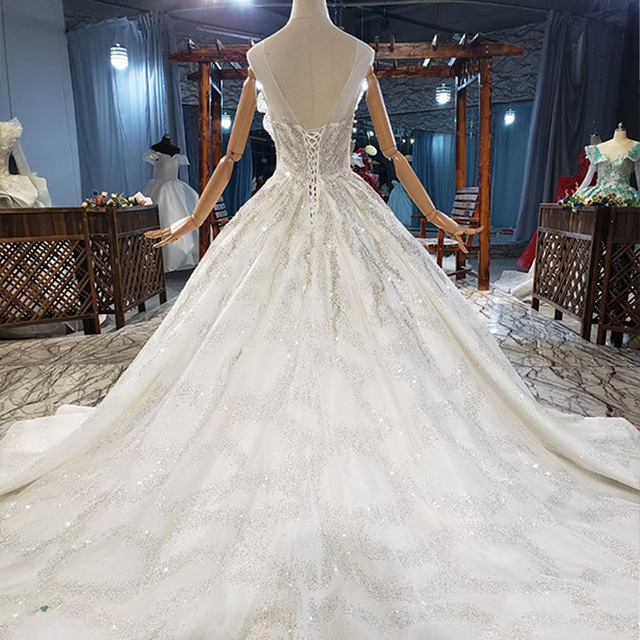 HTL1831 Extravagant  O-Neck Crystal Sequined Beading Wedding Dress 2020 Tank With Sleeveless Applique Ball Gowns 2
