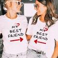 Meine Beste Freund Liebe Druck Frauen Passenden T Shirt Kurzarm Sommer Beste Schwester Freunde BFF Casual Weibliche Tees Tops ropa Mujer
