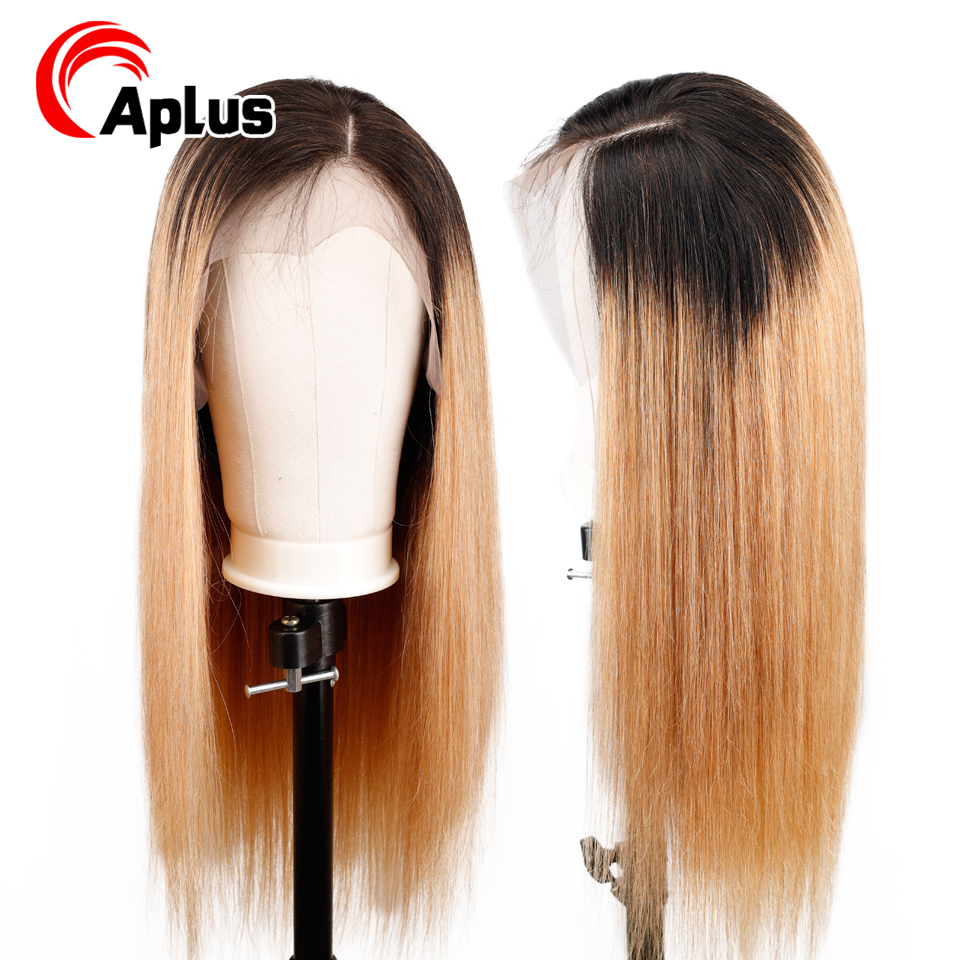 1b/27 Straight Glueless 13*4 Lace Front Human Hair Wigs Side Part Ombre Blonde Hair Lace Wigs Pre Plucked Malaysian Remy Hair
