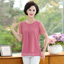 Summer Women Blouses Red Pink Green Plain Colour Lace Short Sleeve Patchwork Round Collar Tops Middle Age Woman Casual Blouse mostnica beach sexy white sheer guipure lace tops without bra plain blouse women summer batwing sleeves round neck blouses