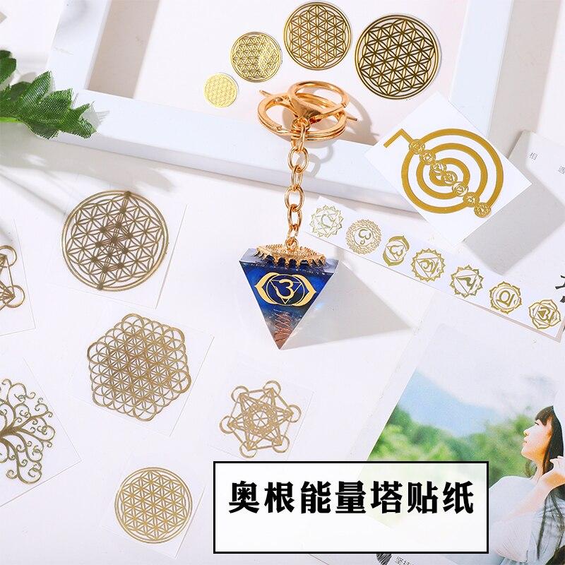 New Metal Energy Decorative Sticker Chakra Flower Of Life DIY Epoxy Resin  Accessories Organ Pyramid DIY Material Orgone