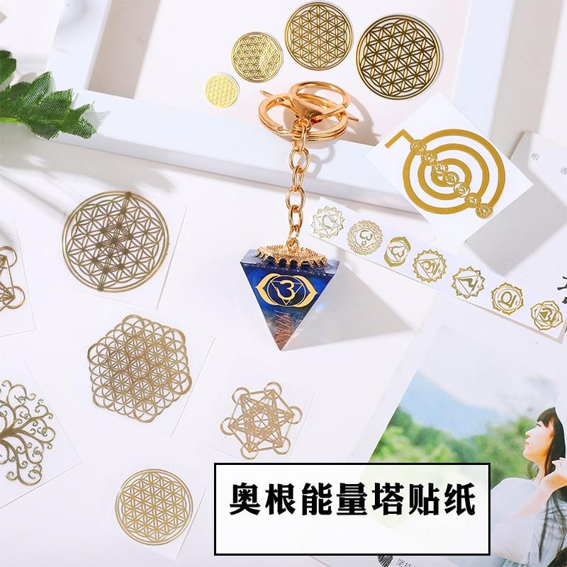 New Metal Energy Decorative Sticker Flower Of Life Flower Invitation DIY Epoxy Accessories Ogan Six Star Pyramid DIY Material