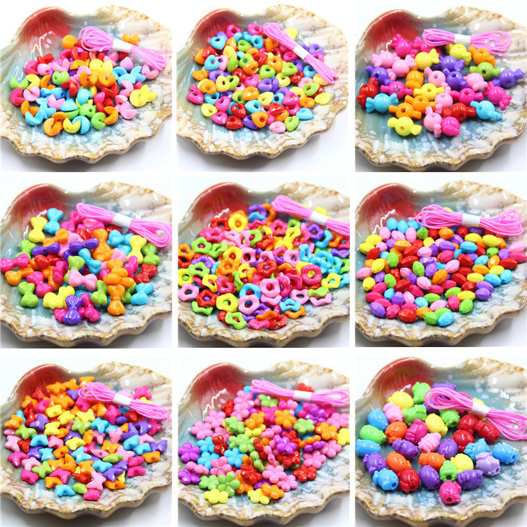 Solid Color Acrylic Ornaments Accessories Children DIY Beaded Bracelet Educational Toy Refill Wearable Necklace Bracelets Finish