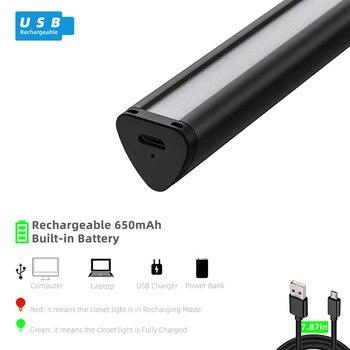 28/44LED Magnet USB Aufladbare LED Unter Kabinett Licht PIR Motion Sensor Led Schrank Nacht Licht Für Schrank Schrank Küche