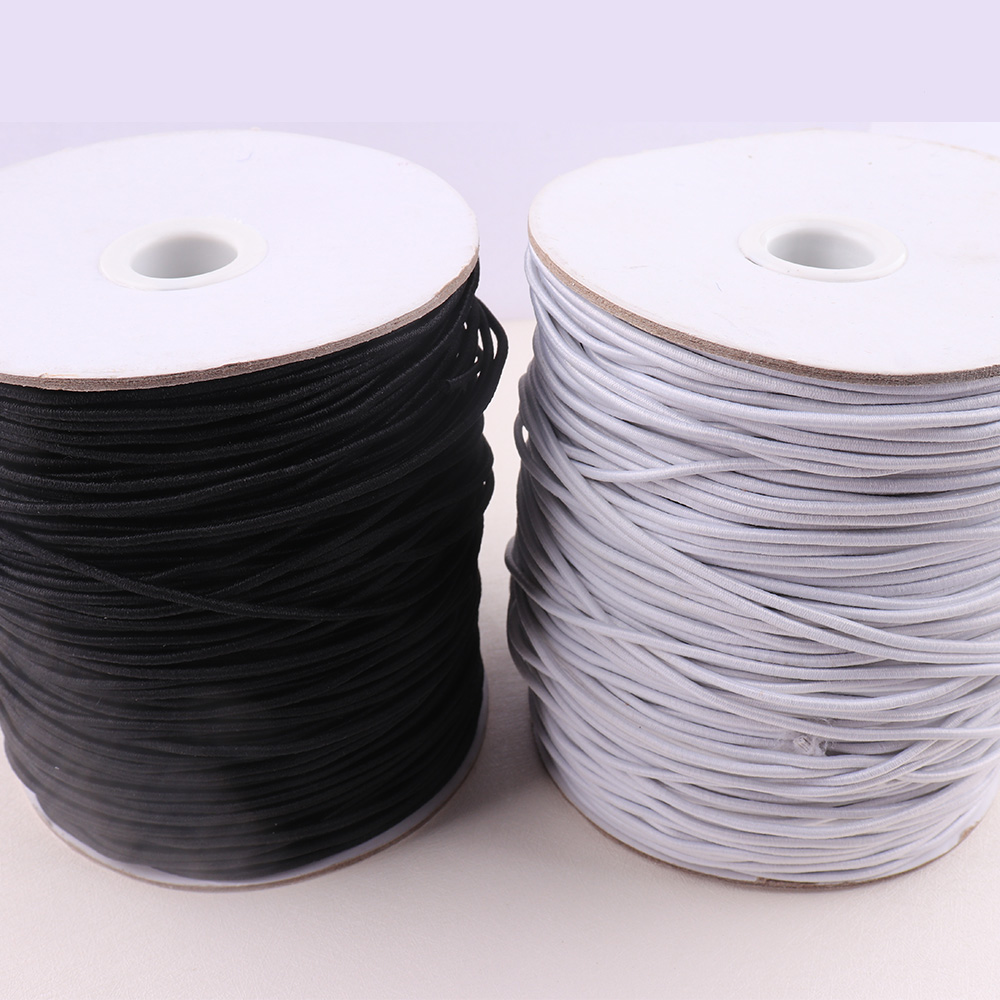 <font><b>2mm</b></font> <font><b>Elastic</b></font> rope black/white High-Quality Fabric Craft Line <font><b>cord</b></font> for DIY Jewelry Making Outdoor Backage Sewing Accessories image