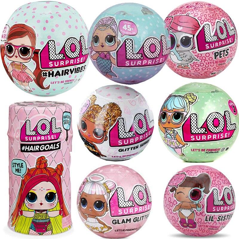 Surprise Dolls Color Change Egg Confetti pop Series Dress Lols DollS Ball Action Figure Kids Toys For Children Christmas