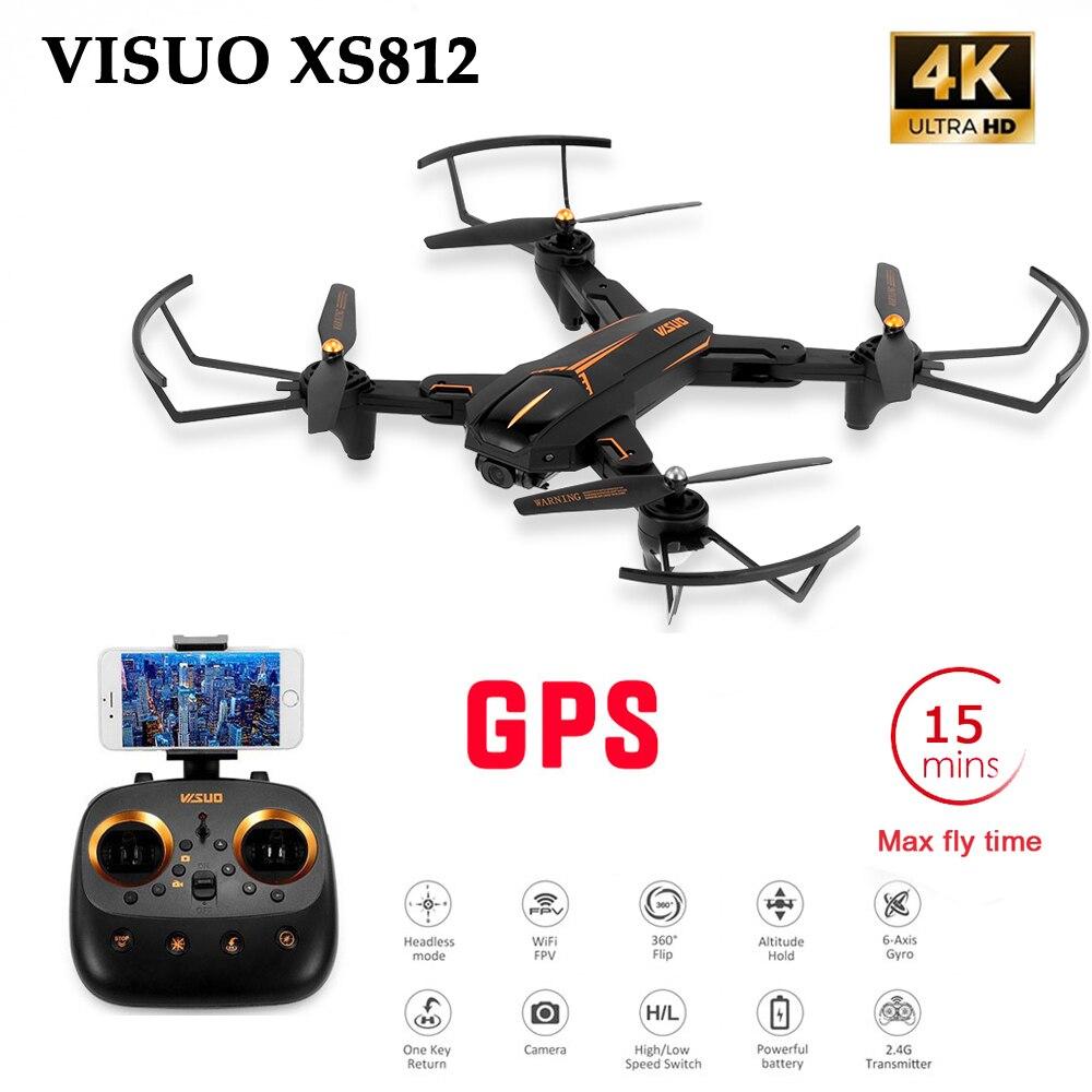 Visuo xs812 gps 5g wifi fpv com câmera 4 k fhd 15 minutos de tempo de vôo dobrável rc zangão quadcopter rtf crianças presente nascimento