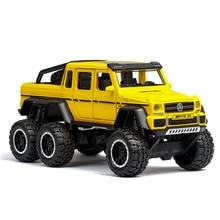 1:32 6WD Diecast מתכת G63 Off Road SUV כלי רכב G 63 6X6 גלגלי תינוק ילדים צעצועים לילדים זוהר מתנת מכונית צעצוע