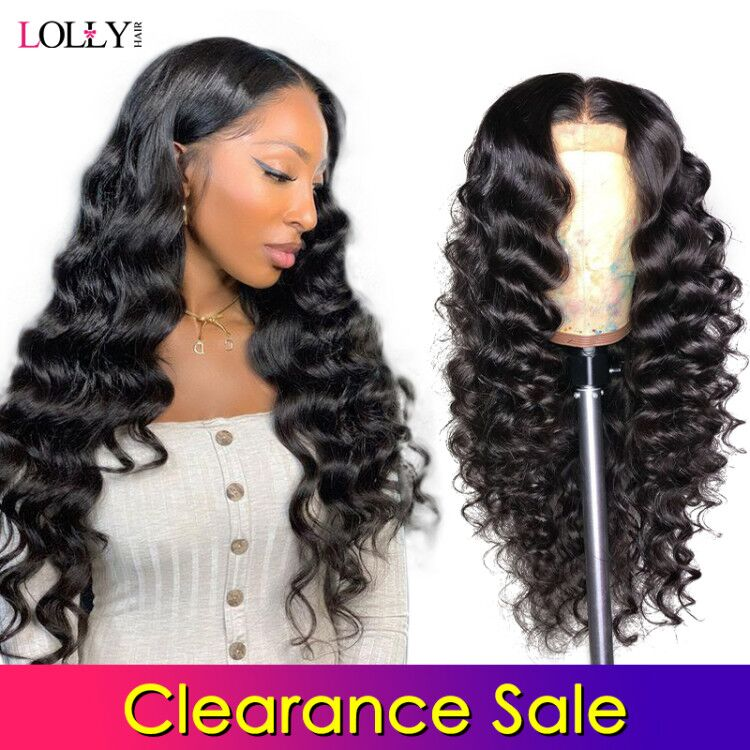 Clearance Sale Lace Front Human Hair Wigs Loose Deep Wave Pre-Plucked Baby Hair Brazilian Remy Human Hair Lace Closure Wig Lolly