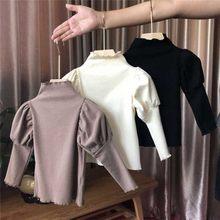 Yükseklik 86-135CM 2020 kızlar yüksek boyun sarkık tişört çocuk kabarcık kollu Casual kore Trend giyim