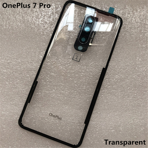 Image 5 - Yeni temperli cam arka kapak için OnePlus 7 Pro yedek parça arka pil kapağı kapı konut + kamera çerçeve + flaş kapak