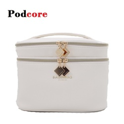 Fashion Cosmetic Bag with Mirror Large Capacity PU Leather Cosmetics Storage Bag With Handle Ladies Luxury Makeup Bag