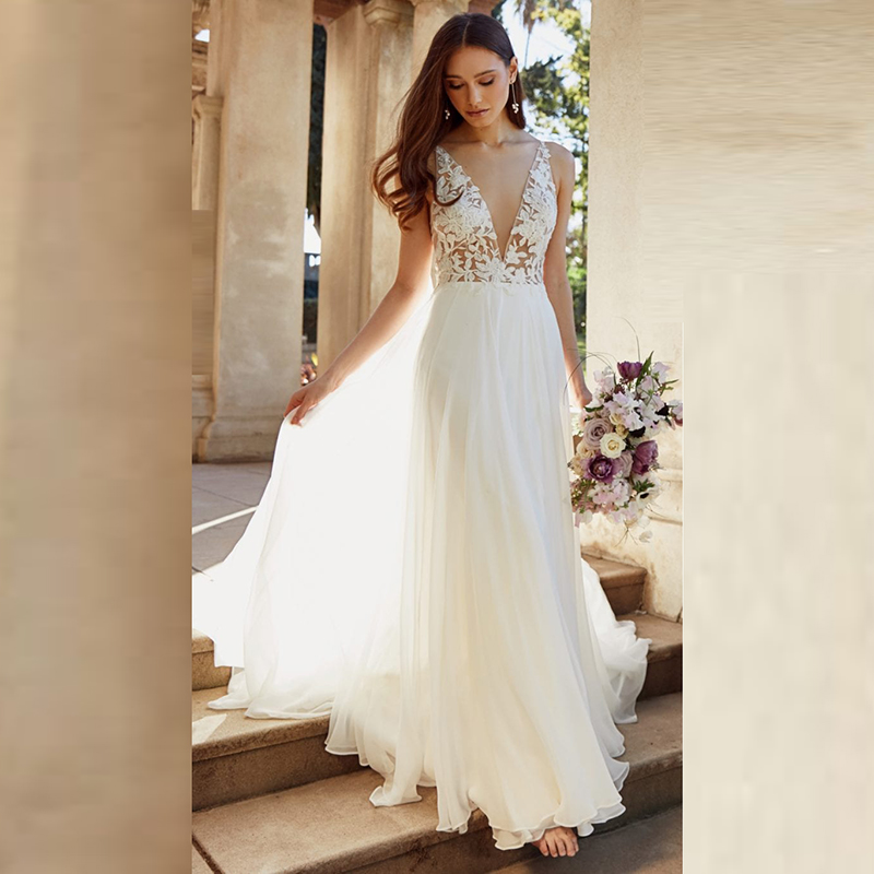 Summer On Sale Chiffon Backless Bridal Wedding Gowns Sleeveless Lace V Neckline Wedding Dresses for Bride Sweep Train Affordable