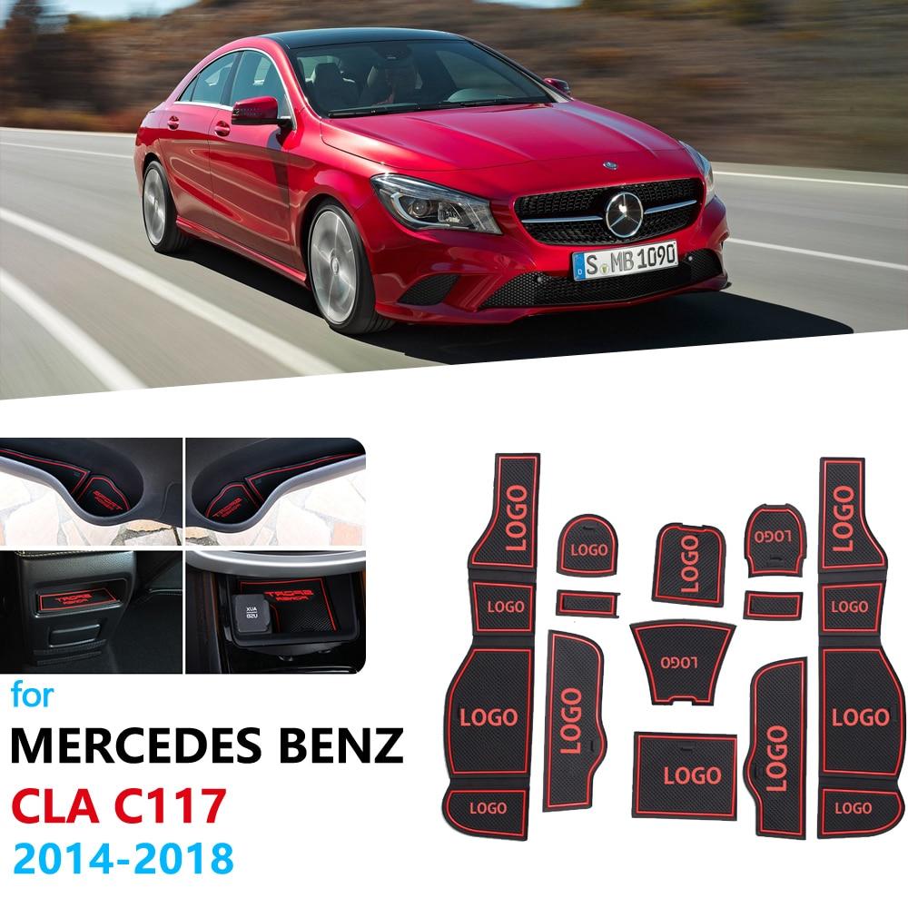 Anti-Slip Rubber Gate Slot Cup Mat For Mercedes Benz CLA C117 W117 Accessories 2014 2015 2017 2018 180 200 220 250 AMG 45