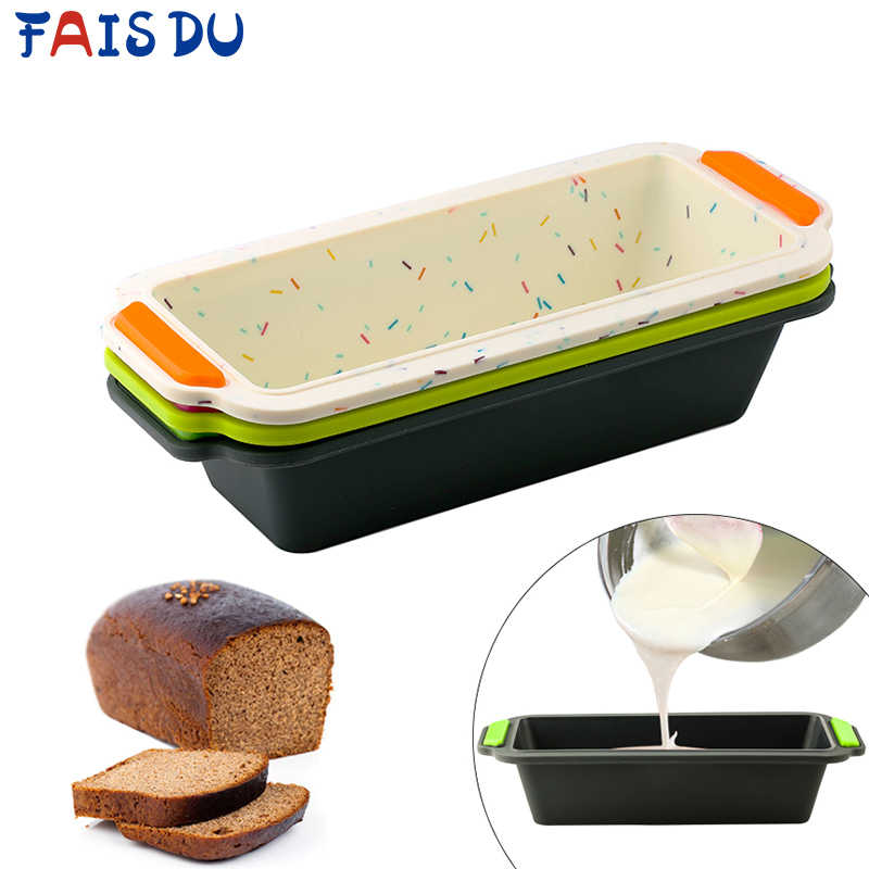 สี่เหลี่ยมผืนผ้าซิลิโคนกระทะขนมปังแม่พิมพ์ขนมปังแม่พิมพ์เค้กถาดยาวสแควร์เค้กแม่พิมพ์ Bakeware Non-Stick Baking เครื่องมือ