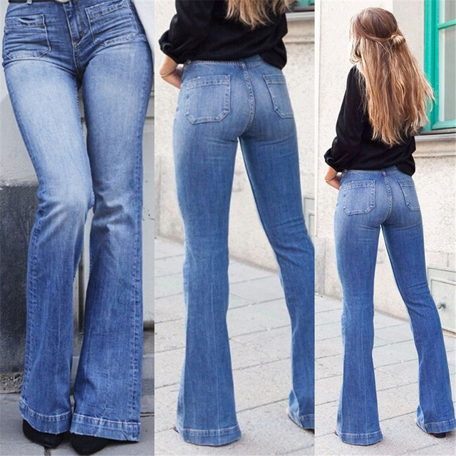 Flare Jeans Pants for Women Fashion Floor-length Blue Denim Washed Jean High Waist Mom Bell Bottom Plus Size Jeans Ladies