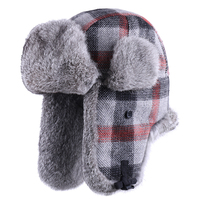 Bomber Hats Real Rabbit Fur Men Trooper Hat Plaid Thicken Wool Earflap Russian Ushanka Women Winter Trapper Warm Snow Ski Caps