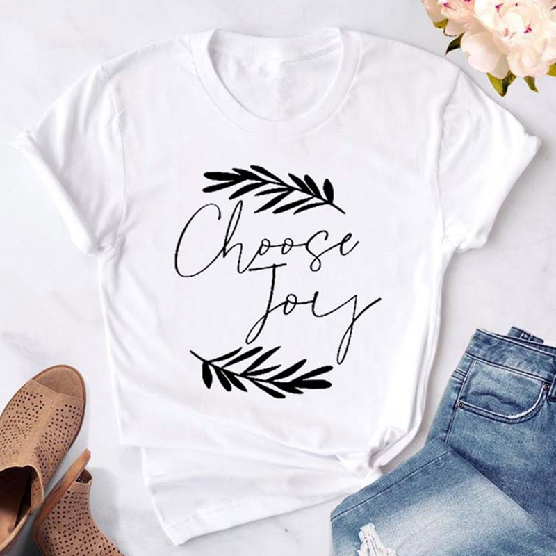 T Shirt For Women Choose Joy Printed Casual Short Sleeve Tshirts Hipster Tops Tee Female Clothes Streetwear