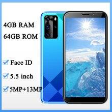 Versão global 8a pro frente/câmera traseira 5.5 polegada desbloqueado 5mp + 13mp original 4g ram 64g rom smartphones face id telefones celulares wifi