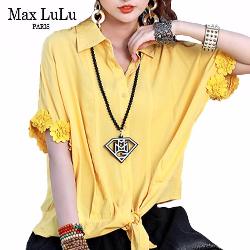 Max LuLu 2020 New Summer Korean Fashion Designer Ladies Loose Blouses Womens Casual Floral Patchwork Shirts Vintage Streetwear