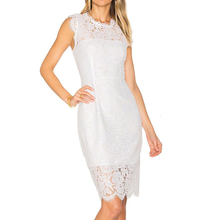 Womens Solid Color Lace Bag Hip Sexy Dress Sleeveless O-neck Women Clothes Dresses Woman Party Night Plus Size Vestidos Verano