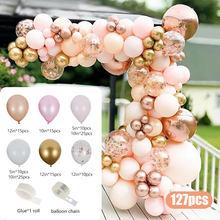 127pcs Macaron Rose Gold Balloons Garland Arch Confetti Ballon Wedding Birthday Baloon Birthday Party Decor Kids Baby Shower